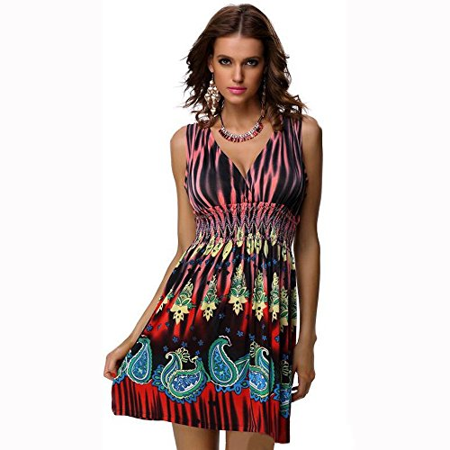 Charmy Women's Deep V Neck Backless Vogue Printed Casual Empire Bustier Dress