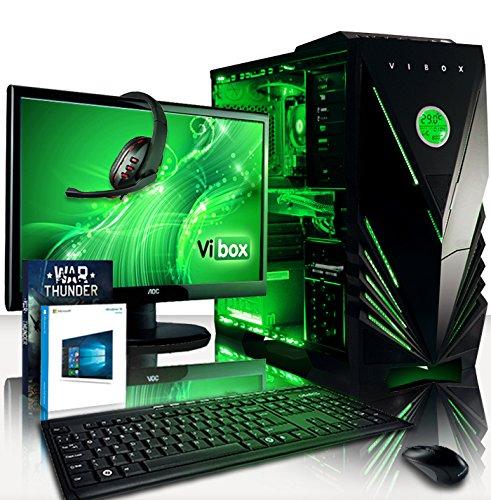"""VIBOX Hypersonic PC Pacchetto 5 - 4,0GHz AMD 4-Core CPU, GTX 1060, Estremo, Dekstop Gamer Gaming PC con Esclusivo WarThunder Gioco Voucher Bundle, 22"""" Monitor, Tastiera e Mouse, Windows 10 OS, Illuminazione verde interna, Garanzia a vita* (3,8GHz (4,0GHz Turbo) AMD FX 4300 Quad 4-Core CPU Processore, Nvidia GeForce GTX 1060 3GB Alto Prestazioni scheda grafica GPU, 8GB DDR3 1600MHz RAM, 1TB Hard-Disk, 500W PSU 85+, Vibox Caso Verde, Scheda madre AM3+)"""