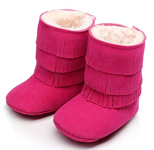 Usstore 1 Pair Baby Infant Toddler Newborn Prewalker Tassels Shoes Snow Boots (0~6 Month, Hot Pink)