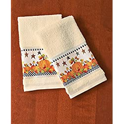 Primitive Pumpkin & Stars Fall Autumn Bathroom Shower Curtain Bath Decor (2 pc hand towels)