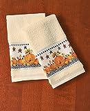 Primitive Pumpkin & Stars Fall Autumn Bathroom Shower Curtain Bath Decor (2 pc hand towels)
