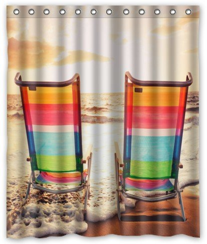 Personalized Beach Chairs Waterproof Shower Curtain 60 X 72