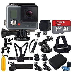 GoPro HERO+ LCD HD Video Recording Camera + SanDisk 32GB Micro SDHC Card + Medium Hard Case + Head Strap + Chest Strap & Hand Strap + Floating Handle + Monopod/Selfie Stick + Card Reader + Accessories