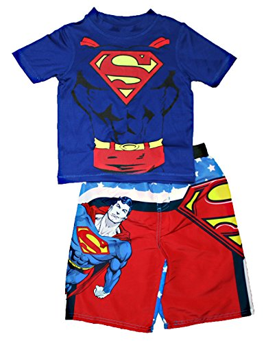 Superman little boys toddler swim trunks and rash guard for Baby rash guard shirt