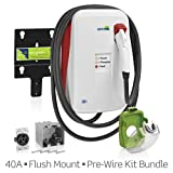 Evr-Green 400 Electric Vehicle Charging Station: 40 Amp, 9.6kW output, cord-connected (plug-in), Flush Mount with 50A Pre-Wire Installation Kit