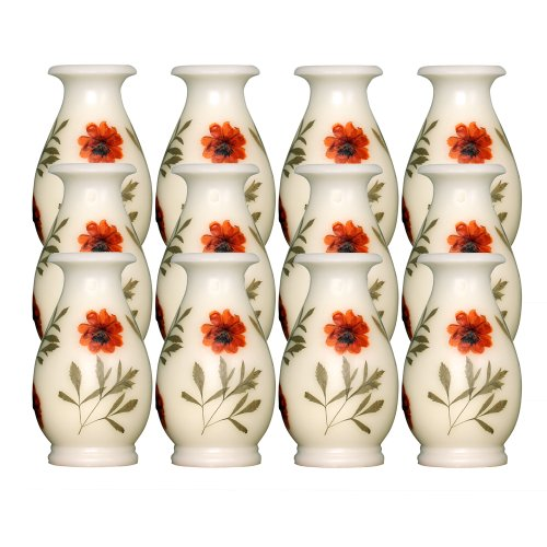 Dfl 4X8 Inch Vase-Shaped Of Flameless Real Wax Led Candle With Timer,Set Of 12