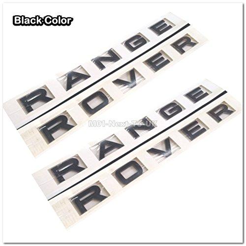 2x Range Rover Black L322 Hood Tailgate Bonnet Badge Emblem Lettering SJH1041BK (Black Range Rover Letters compare prices)