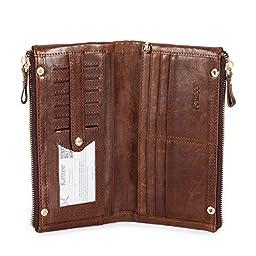 Kattee Unisex Real Leather Long Wallet Double Zipper Clutch Purse (Brown)