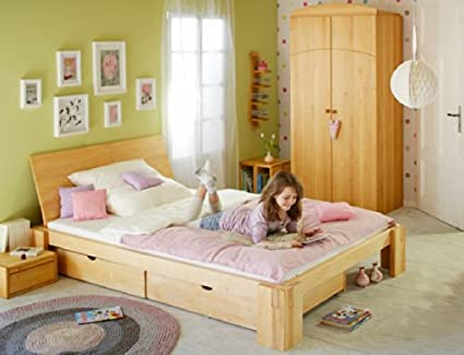 Savings set: Dario bed for teens 140x200 with backrest. Alderwood