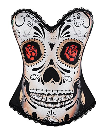 Day of The Dead Skull & Rose Boned Bustier
