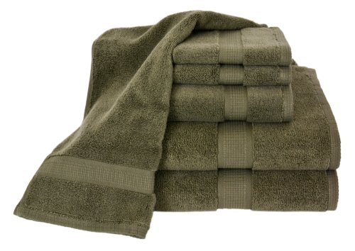 Calcot Growers Collection 100-Percent Zero-Twist Supima Cotton 6-Piece Bath Towel Set, Moss Green