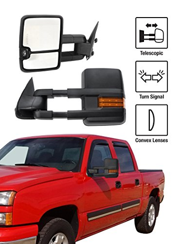 1999-2006 Chevy Silverado / GMC Sierra New Style Towing Mirrors Pair Set Manual Glass With Convex Lens & Amber LED Turn Signal Black Housing (2003 Silverado Manual Tow Mirrors compare prices)