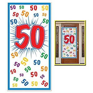 """HAPPY 50th BIRTHDAY Party DOOR COVER/Banner/DECOR/DECORATIONS 30"""" x 60"""" FIFTIETH/Look Who's 50-OVER the HILL Parties from BEISTLE"""