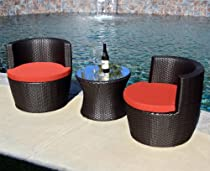 Hot Sale Harmonia Living Pineapple 3 Piece Wicker Outdoor Stacking Bistro Set with Red Sunbrella Cushions