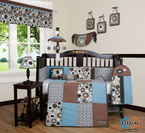 Boutique blue brown scribble 13pcs crib bedding set baby for Best value baby crib