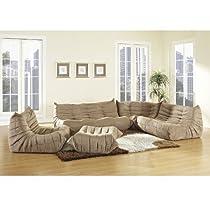 Big Sale Lexington Modern Waverunner Modular Sectional Sofa Set, Brown, 5-Piece
