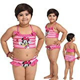 Kids-Girls Multi Color Cute Cartoon Print Halter Two Piece Swimsuit