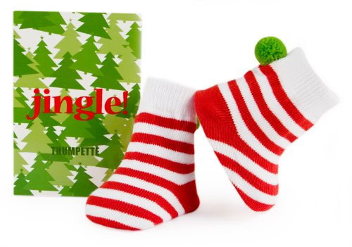 Trumpette Jingle Christmas Socks, Red/White, 0-12 Months front-952615