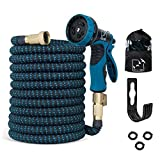 LifebeFree Expandable Garden Hose 100 ft, All New Upgraded, Extra Strength No-Kink, Lightweight Durable Flexible Water Hose, 9 Function Spray Hose Nozzle, 3/4 Solid Brass Connectors (Color: Black/Blue, Tamaño: 100ft)