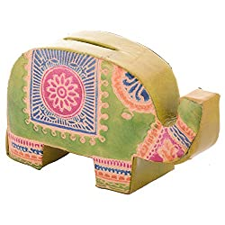 Sheela's Arts & Crafts Leather Piggy Bank (SH01729, 10 cm x 2 cm x 6 cm)