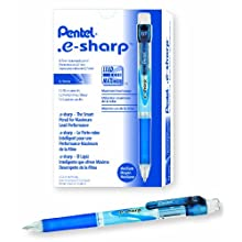 Pentel e-sharp Automatic Pencil, 0.7mm, Blue Accents, Box of 12 (AZ127C)