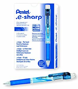 Pentel e-sharp Automatic Pencil, 0.7mm, Blue Accents, Box of 12 (AZ127C)