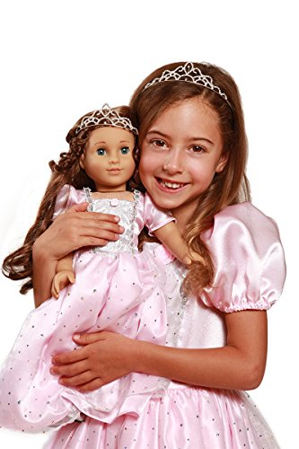 Sparkle Pink Princess Costume & Tiara with Matching 18 Inch Doll Dress & Doll Tiara
