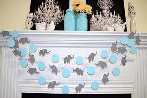 Elephant Garland, Elephant baby shower Decorations, Blue & Gray elephant Nursery Decoration - Gray elephant, Baby Shower decorations (Elephant Baby Shower Banner compare prices)