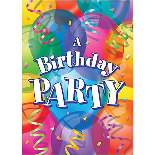 Unique 8 Count Brilliant Birthday Invitations, Multicolor