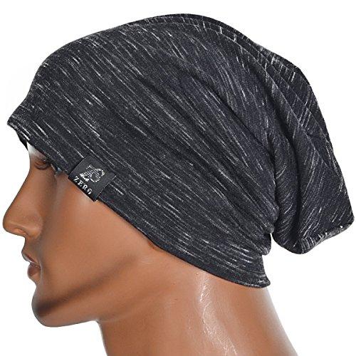Zs Mens Diagonal Thin Slouch Summer Beanie Cap Hat B073 (B079-Black) (Thin Skull Cap compare prices)