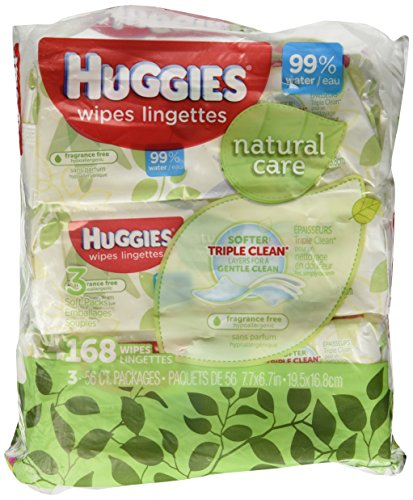 Huggies Natural Care Fragrance Free Soft Pack Wipes - 3 packs of 56 sheets each; 168ct. total - 1
