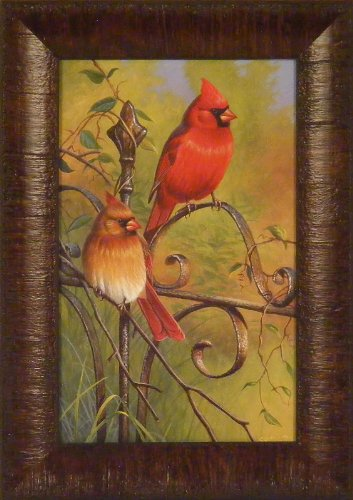 Garden Visitors by Cynthie Fisher 11x15 Cardinals Song Birds Framed Art Print Wall Décor Picture (Cardinal Bird Pictures compare prices)
