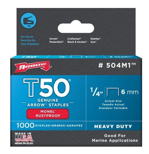 Arrow 504M1 Genuine T50 1/4-Inch Monel Rust Proof Staples, 1,000-Pack