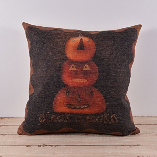 45X45Cm Halloween All Hallows' Eve Lantern Burlap Cushion Covers Pillow Cases With Placemat front-745405