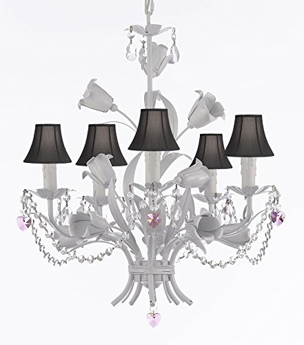 50 White Wrought Iron Floral Chandelier Empress Crystal Tm Flower