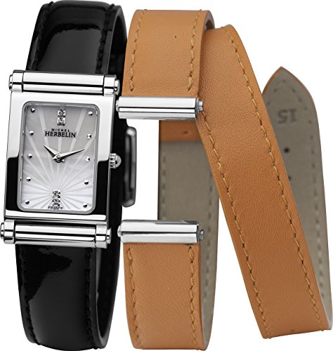 Michel Herbelin Antares Interchangeable Women's Quartz Watch with Mother of Pearl Dial Analogue Display and Black Leather Strap COF17048/59NO