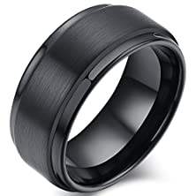 buy Mens 8Mm Tungsten Carbide Ring Metal Black Wedding Engagement Band Matte Finish Comfort Fit