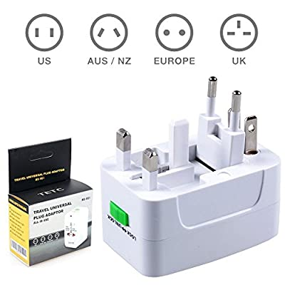 OREI 3 in 1 Schuko Travel Adapter Plug with USB and Surge Protection