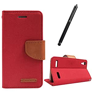 DMG Premium Canvas Diary Wallet Folio Book Cover for Lenovo A6000 (Red) + Touch Screen Stylus