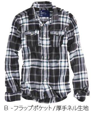 アメリカンイーグル(AMERICAN EAGLE)シャツ ネルシャツ チェックシャツ B/ブラック/厚手ネル【M】 並行輸入品