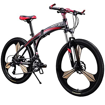 Cyrusher New Updated RT-601 Mens Mountain Bike Folding Frame Bike Aluminum Frame 26in MF-27 Speeds Magnescium Alloy 3 Spokes Wheel from Xinhuan