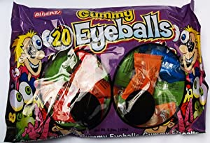Gummy Eyeballs Gummi Halloween Candy (20 Indvidually Wrapped Eyeballs)