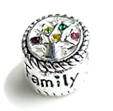.925 Sterling Silver Family Tree Of Love Pink Rose Yellow Green Bead Charm For European Charm Bracelets