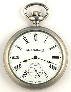 DBRM2 New Dueber Watch Co Stainless Steel Satin Chrome Plated Pocket Watch Mechanical Wind 17 Jewel Swiss Movement