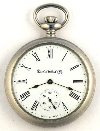 cc0e25212 Dueber Swiss Mechanical Pocket Watch Satin Chrome Open Face Case Assembled  in USA