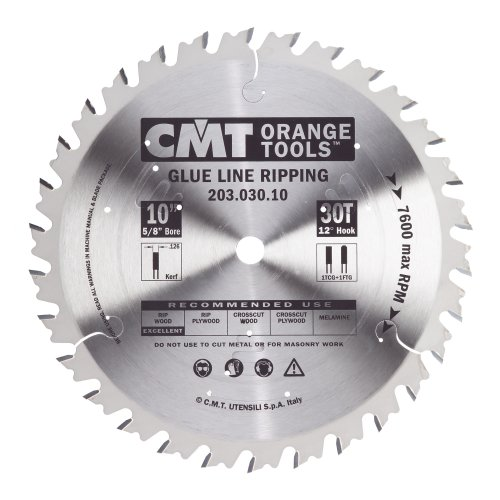 CMT 203.030.10 Industrial Glue Line Ripping Saw Blade, 10-Inch, Diameter, 30 Teeth, 5/8-Inch, Bore, 0.126 Kerf, 0.087 Plate, 1 FTG+1TCG Grind, 12-Degree Hook Angle