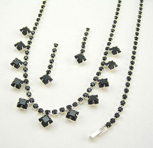 Square Jet Diamante Jewellery Set