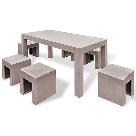 vidaXL 7-tlg. Beton Gartenmöbel Set Sitzgruppe Essgruppe Gartengarnitur Tisch Hocker