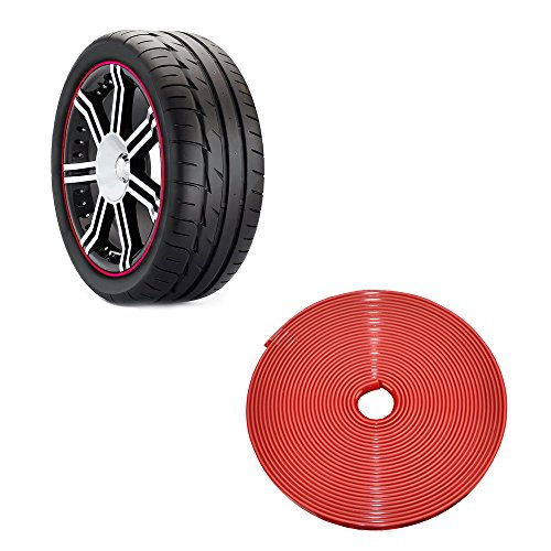 KingMas Car Vehicle Wheel Rim Protector Tire Guard Line Rubber Moulding 8M (Red) image