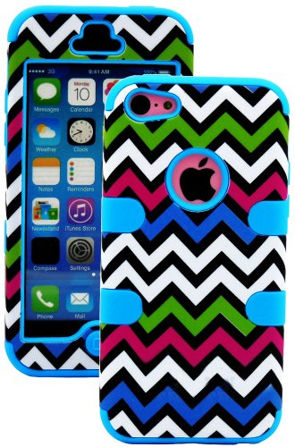 Mylife (Tm) Electric Blue + Colorful Chevron 3 Layer (Hybrid Flex Gel) Grip Case For New Apple Iphone 5C Touch Phone (External 2 Piece Full Body Defender Armor Rubberized Shell + Internal Gel Fit Silicone Flex Protector + Lifetime Waranty + Sealed Inside